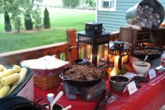 BBQ Rehearsal Dinner-- Like cast iron skillets from meat server