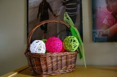 Yarn Ball Crafts...good in black/glow-in-the-dark with spiders for Halloween :)