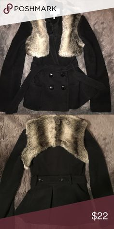 BCBG Generation coat with fur vest Such a cute coat! Fur part is removable. Belted with 4 button closure. Does have some minor pilling. Non smoker BCBGeneration Jackets & Coats