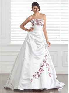 A-Line/Princess Strapless Chapel Train Satin Wedding Dresses With Embroidery  Beadwork (002005282)