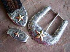 Vogt Sterling Silver Goldfill Buckle Set Rare by papercherries, $675.00