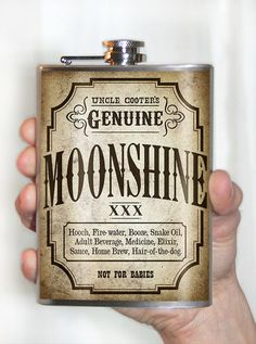 Moonshine Flask  8oz  Stainless Steel by trixieandmilo on Etsy, $26.00