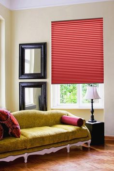 Bolton Blind's pleated blinds have unique Equipleat system, Free-hanging or Skylight option. Made to measure for all window shapes and styles, available in a wide range of fabrics, including SPC and blackout. Co-ordinating Roller and Vertical Blinds are also available. Bolton Blinds offer unrivalled selection of designs and colours. Here in Red colour