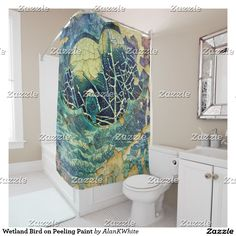 Wetland Bird on Peeling Paint Shower Curtain