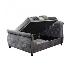 Take a look at the wonderfully fabulous Toulouse Steel Fabric Ottoman Bed. Cutting edge design meets superb functionality in this dazzlingly attractive bed frame. Steel grey coloured fabric encases the entire frame, held off the ground by a set of four co Ottoman Bed, Fabric Ottoman, Toulouse, Bed Frame, King Size, Steel, Storage, Furniture, Design
