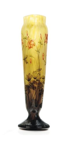A DAUM ENAMELLED AND CASED GLASS VASE -  CIRCA 1910