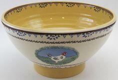 Nicholas Mosse Irish Folk Art Pottery Landscape Serving Bowl 9″ Hen/Cat/Dog/S...