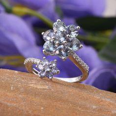 Bondi Blue Tanzanite (Rnd), Tanzanite, White Zircon Ring in Platinum Overlay Sterling Silver Nickel Free (Size 9.0) TGW 4.590 cts.