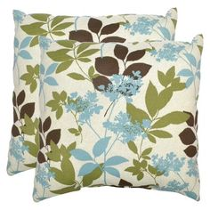 I have these exact pillows in shades of blue/teal. These hues blue/green/brown are my favorite color combo right now!