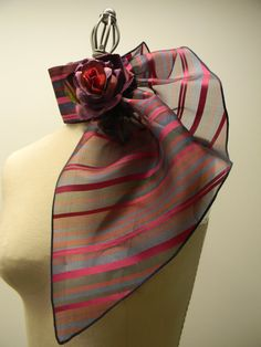 CHRISTMAS SALE Silk Organza Peacock Neck Piece, Mini Scarf,Ruffle Neck Collar, Key Hole Scarf, Radiant Orchide Burgundy Navy Black Stripes
