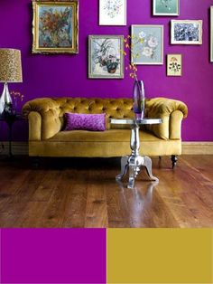 chris would kill me...but purple is my favorite color and ive been obsessed with yellow in my home for awhile now.  i really like this! :)