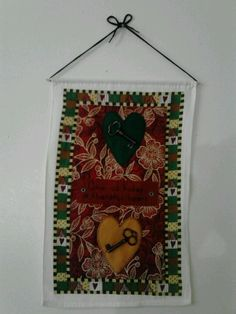 Give us today a thankful heart - old cloth wall calendar recovered with some felt, keys, & buttons