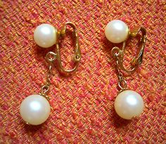 Vintage Newhouse Faux Pearl Dangle Earrings ~ Viv could've danced all night.  FREE SHIPPING TO U.S. address!  moddities, $22.00
