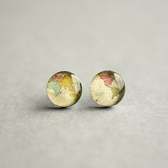World map earring studs Surgical steel studs by myBeltBuckle