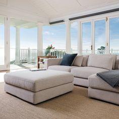 The Long Beach Modular sofa featuring Tidal fabric in 'Driftwood'  #lounge #sofa #couch #coastal #style #cornersofa #modular