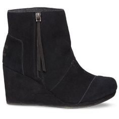 Toms Black Desert Wedge High Bootie - Women's ($98) ❤ liked on Polyvore featuring shoes, boots, ankle booties, black, black bootie, ankle boots, short boots, black ankle booties and black boots