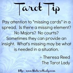 "Tarot Tip 102/8/14: pay attention to ""missing cards"" in a spread. #tarot #tarottip"