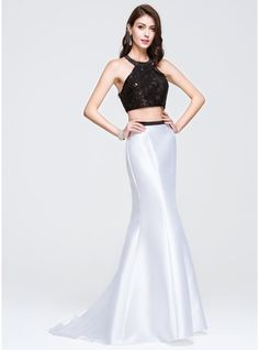 Trumpet/Mermaid Scoop Neck Sweep Train Satin Lace Prom Dress With Sequins