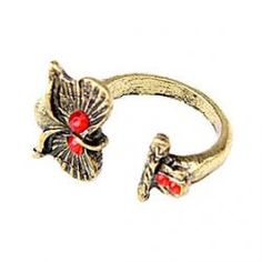 Kazakh Korean Family Of European And American Jewelry Retro Red Diamond Owl Ring Opening - buy for USD0.99