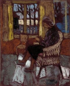 A woman next to the window - Elga Sesemann , c.1946  Finnish, 1922-2007  Pastel on paper, 50 x 40,5 cm.