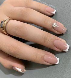Nail Shapes Square, Square Nail Designs, Short Nail Designs, Acrylic Nail Shapes, Square Acrylic Nails, Long Acrylic Nails, French Nails, Gel French, Wedding Day Nails