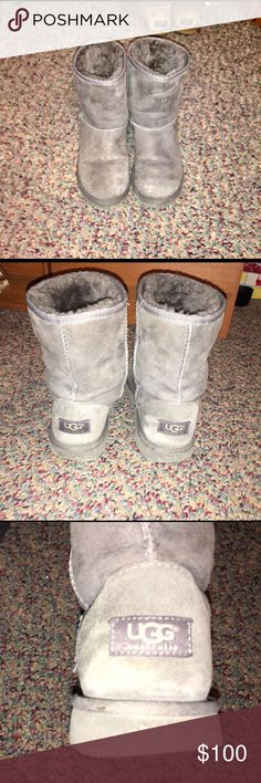 Short grey ugg boots short grey ugg boots-- worn only a handful of times. Slight scuffing-- not very noticeable. UGG Shoes Winter & Rain Boots