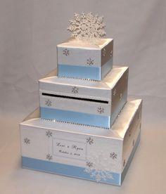 White and Ice Blue/Pale Blue Winter Wonderland/ Snowflakes theme Wedding Card Box