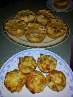 Chicken Pot Pie Cupcakes  1chicken breast, cooked and diced  14.5 oz can of cream of chicken or mushroom soup  1 c frozen mixed veggies   1 c shredded chedder cheese   1 tsp onion powder   1 tsp garlic powder   1 tsp italian seasoning   2-3 can(s) pillsbury biscuits