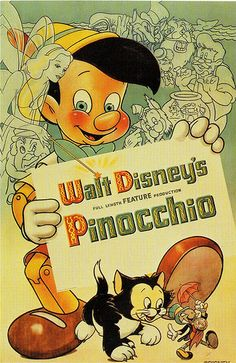 *PINOCCHIO, c. 1940 ~ Reproduction sticker from vintage Disney sticker.