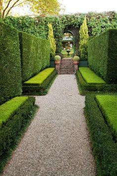 hedg wall, garden patios, bench, dream, path landscap, garden paths, formal gardens