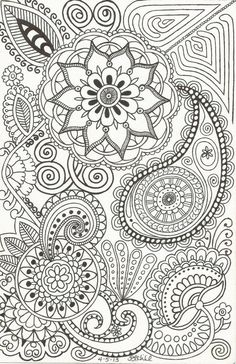 Henna-Inspired Doodle (by Patricia Hill) of Paisleys, Flowers, Swirls and Such on Etsy, $1.50 #Paisley Patterns