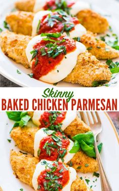 The BEST healthy Chicken Parmesan recipe ready to eat in 30 minutes This easy baked chicken Parm recipe is kid friendly and tastes better than the restaurant version wellplated healthyrecipe Italian recipe skinny bakedchicken via wellplated Healthy Chicken Parmesan, Easy Baked Chicken, Skinnytaste Chicken Parmesan, Best Baked Chicken Parmesan Recipe, Healthy Sides For Chicken, Italian Baked Chicken, Garlic Parmesan, Keto Chicken, Vegetarian Recipes
