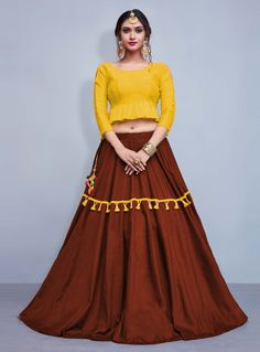 Buy Brown Cotton A Line Lehenga Choli 147981 online at best price from vast collection of Lehenga Choli and Chaniya Choli at Indianclothstore.com.