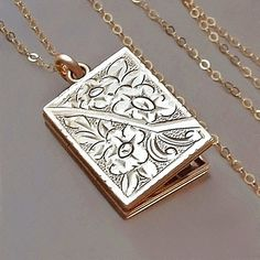 Stunning Huge Victorian Style Gold Plated Fine Silver Etched and Embossed Floral Double Locket Hallmarked Birmingham 1977
