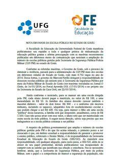 Blog do Sérgio: Nota de Repúdio da Fac. Educação/UFG à Militarizaç...