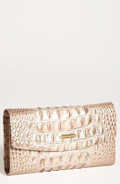 02923a7e15 Brahmin Croc Embossed Checkbook Wallet