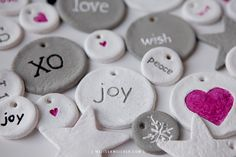 Great kid-friendly craft: dough ornaments or gift tags, or valentine's presents for friends at school.