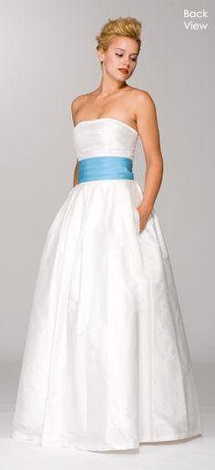 Wedding dress with blue sash