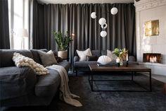 Design noir dans un appartement de 53m2 - PLANETE DECO a homes world Style Tropical, Ikea, Contemporary Interior, My Dream Home, Interior Inspiration, Couch, Curtains, Living Room, Interior Design
