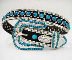 $58 -- Atlas Belt - Black Belt with 2 Rows of Clear Rhinestones on Each Side of Belt. Decorated with Turquoise Stones. Flower Buckle Set is Adorned...