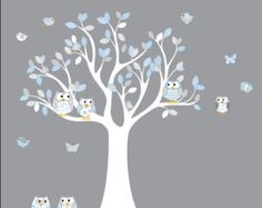 Nursery tree decal with elephant ,owls, birds,dragonflies, custom name.  Product Details  tree with leaves 80inches high x 60 inches wide branch with leaves 13 birds 5 owls 3 dragonflies elephant custom name   This tree set can be made in any colors you would like.  CHOOSE YOUR COLORS Please specify your preferred colors in message box in checkout. If colors are not specified decal will be sent as shown in picture.  We can do larger or smaller tree if needed, just contact us for a custom…