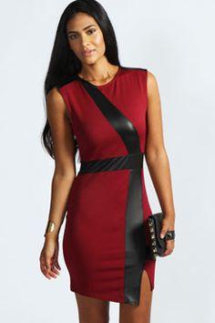 Megan PU Contrast Detail Asymetric Dress at boohoo.com