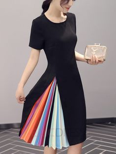 Ericdress Color Block Patchwork Short Sleeve Round Neck Casual Dress 6