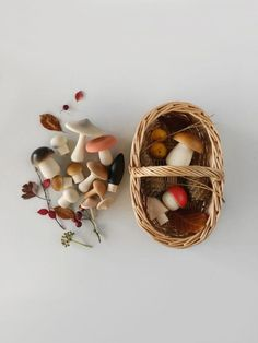 Beautifully made wooden mushrooms in a cute handmade rattan basket. YAdorable for imaginary play and decoration. Made in Germany 15 mushrooms in solid beech wood rattan basket Wooden toy for toddler pretend play, montessori toy, nature play Diy Sensory Board, Deco Champetre, Natural Toys, Interactive Toys, Rattan Basket, Wood Toys, Wooden Baby Toys, Wooden Toys For Toddlers, Infant Activities