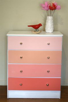 Teal or Coral Ombre Painted Wood Dresser. Pantone. Apricot. Beach House Sunset. Silver Knobs. by PinkPianos on Etsy https://www.etsy.com/listing/125305625/coral-ombre-painted-wood-dresser-pantone
