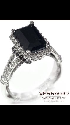 Luscious Verragio Black Diamond Engagement Ring