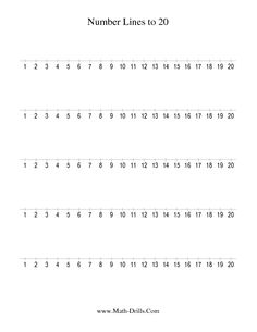 Number Sense Worksheet -- Number Line to 20 Counting by 1 (A)