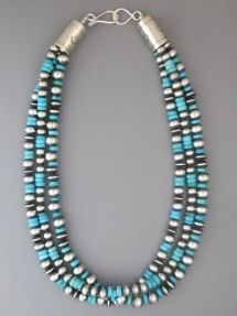 """Three Strand 18"""" Silver Bead Necklace with Turquoise by Geneva Apachito from Southwest Silver Gallery"""