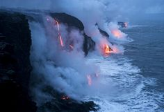A wonderful picture from the site of National Geographic for a part of the Hawaiian Island, as the fire merges with water. Neither the large quantity of water puts out the fire nor does the intensity of the fire evaporate the water. And this scene continues in a strange balance through thousands of years.