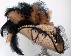 Steampunk camel pirate tricorn skull & crossbones hat by Blackpin Steampunk Top Hat, Steampunk Pirate, Steampunk Fashion, Pirate Hats, Pirate Costumes, Pirate Outfits, Teen Costumes, Woman Costumes, Costume Hats